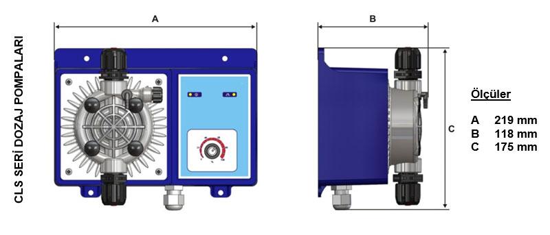 Dozaj Pompası CLS Serisi ölçüleri